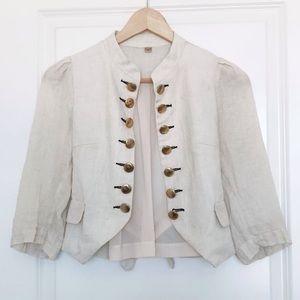Jackets & Blazers - Linen Bolero Jacket w/Gold Buttons- Sz Small